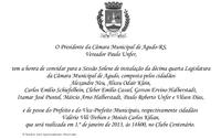 Câmara Municipal dará posse a novos Vereadores, Prefeito e Vice-Prefeito em Sessão Solene